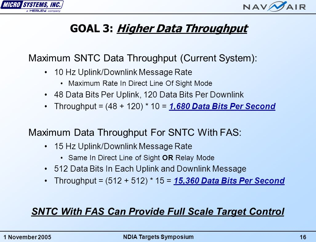 1 November 200517 NDIA Targets Symposium GOAL 4: Support For Complex Mission Scenarios Maximum Capabilities For SNTC With FAS: 8 Targets Per Frequency At 10 Hz Rate Within Line Of Sight 4 Targets Per Frequency At 10 Hz Rate With Airborne Relay 40 Surface Targets Per Frequency At 1 Hz Rate, Relay or LOS Maximum of 4 Frequency Groups Per System Therefore, SNTC With FAS Can Control Up To: 32 Subscales or Full Scales In Line Of Sight At 10 Hz Or Up To 16 Subscales or Full Scales Through A Relay Or Up To 160 Surface Targets Through A Relay at 1 Hz FAS Also Allows Mixed Modes of Target Types, Relays, and Uplink/Downlink Rates Thousands of Scenarios Possible