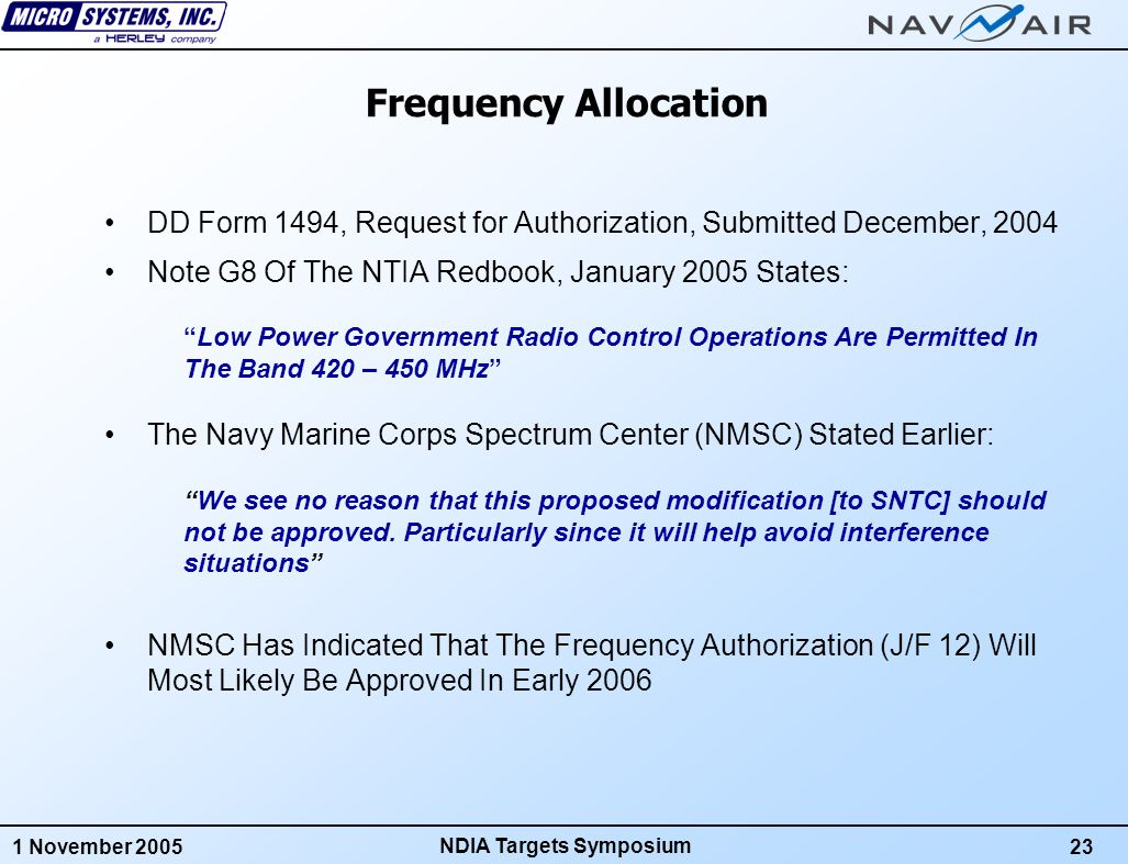 1 November 200524 NDIA Targets Symposium GOAL 6: Low Implementation Cost No New Transponder Mounting Requirements For Existing Targets Reduced Ground Equipment Requirements Fewer FAS GRFUs Are Needed For The Same Mission Requirements FAS Uses Same Antennas and RF Cabling As SNTC No New Ground or Target Antenna Installations Are Required No Hardware Changes Required To SNTC Consoles All FAS Ground System Functions Are Implemented In Software Navy Does Not Lose Its Original Investment In SNTC Equipment Target Design To Production Cost: Same As or Less Than Current SNTC Transponder Same As or Less Than Current SNTC GRFU