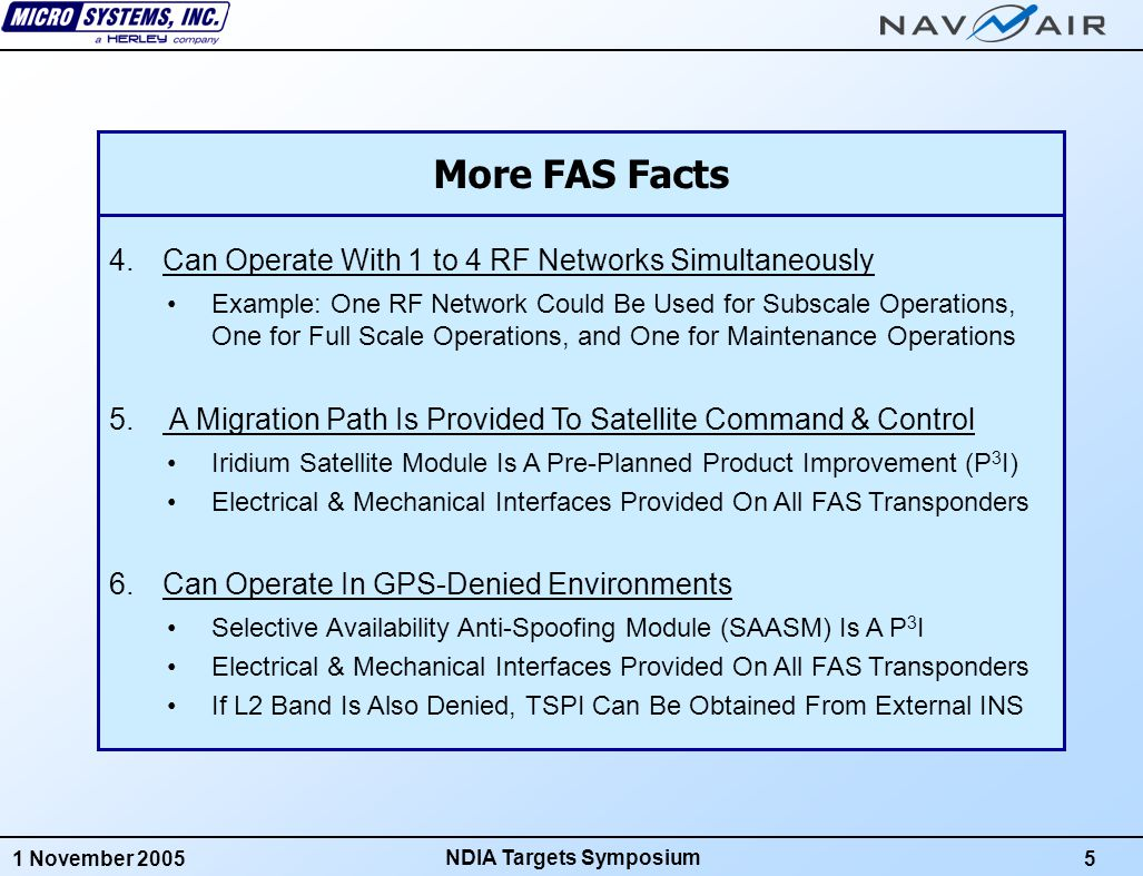 1 November 20056 NDIA Targets Symposium FAS Transponder Optional Iridium Module Optional SAASM Module FAS Transponder System