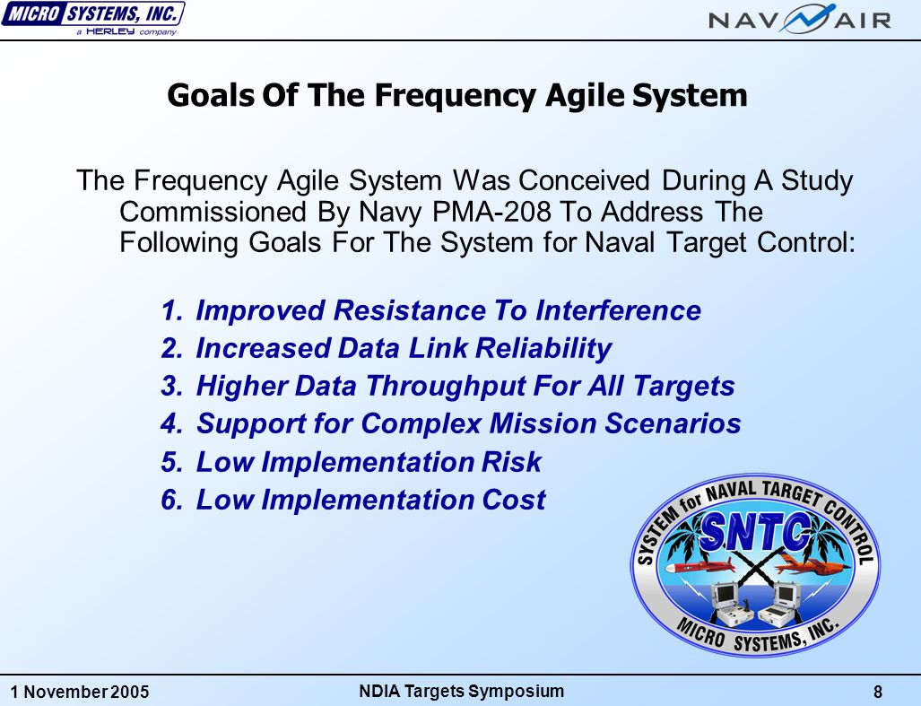 1 November 20059 NDIA Targets Symposium GOAL 1: Improved Resistance To Interference SNTC's 435 MHz to 450 MHz Band Is Shared E-2C Surveillance Radars, Amateur Radio Operators, Flight Termination Systems and EPLRS/SADL Each Of These Systems Can Interfere With SNTC Effective Command/Telemetry Rate Can Be Affected Can Even Stop In The Presence Of Strong Interference Can Lead To Aborted Missions SNTC Frequency Cannot Be Changed After Launch If Interference Starts, There's Nothing The SNTC Operator Can Do One Workaround: Operate On Known Quiet Channels Only But This Limits System Capabilities