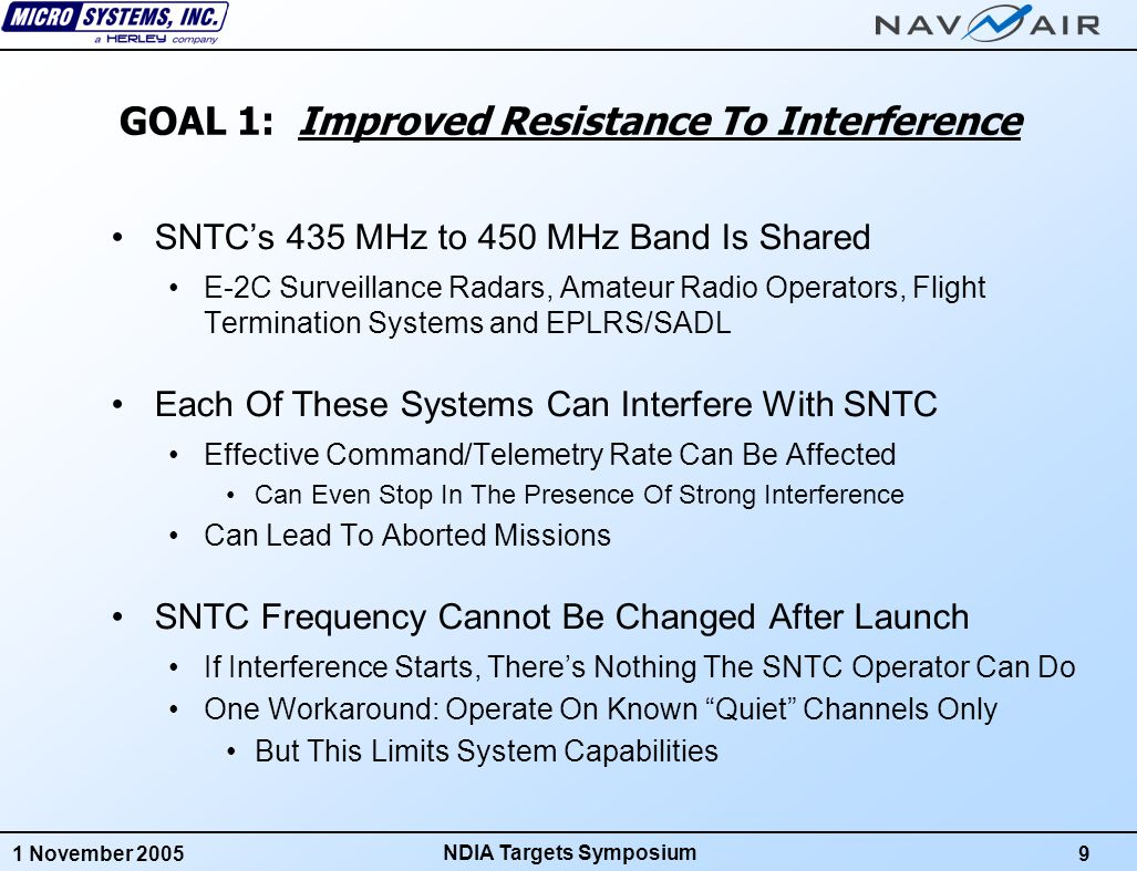 1 November 200510 NDIA Targets Symposium Example Of Interference From E-2C An E-2C Approaches Tx/Rx Frequency: 439.5 MHzNew Tx/Rx Frequency: 429.5 MHz Frequency Agile System Ground RF Unit and Antenna