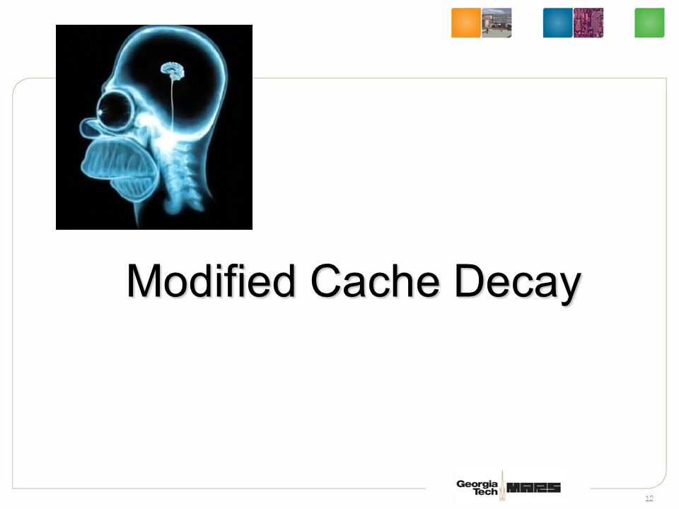 13 Core L1 Cache 2-Way L2 Cache Tag RAM Data Array Shared Bus Tag RAM Data Array TagDCI Memory L2 Linefill Decay of counter continues even if line is in L1 Cache Modified Cache Decay for MLI: L2 Line Fill TagDCI Decay Counter 0x12341212ff001122301498ab34123445