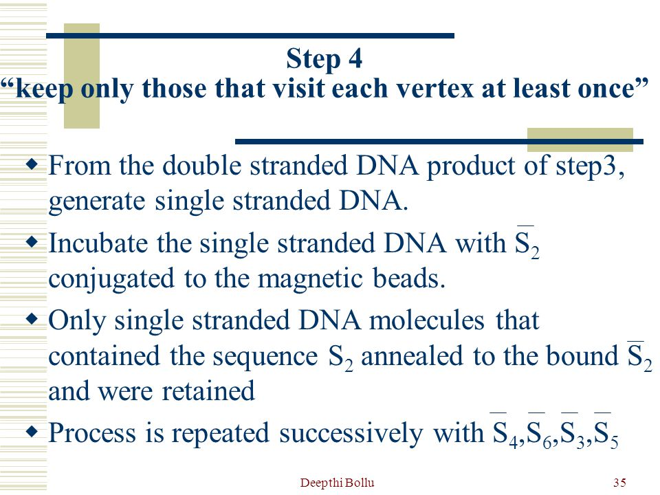 Deepthi Bollu36 Step 4 keep only those that visit each vertex at least once  Filter the DNA searching for one vertex at a time.
