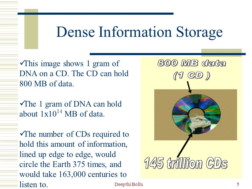 Deepthi Bollu6 How Dense is the Information Storage.