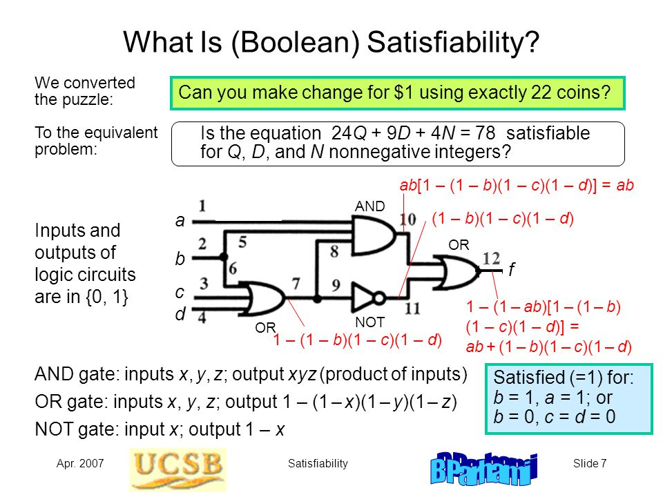 Apr.2007SatisfiabilitySlide 8 Why Is Satisfiability Difficult.