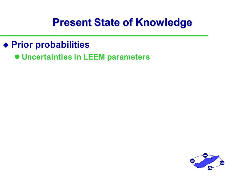 Present State of Knowledge u Prior probabilities Uncertainties in LEEM parameters Hypotheses presented at 1999 IAGLR Modeling Summit and Lake Erie Millenium Conference  Changes in structure of lower trophic level (e.g., Zoobenthos production efficiency )  The role of zebra mussels in Lake Erie energy and nutrient flows (e.g., Zebra mussel recycling nutrients; Primary productivity as function of P loading)