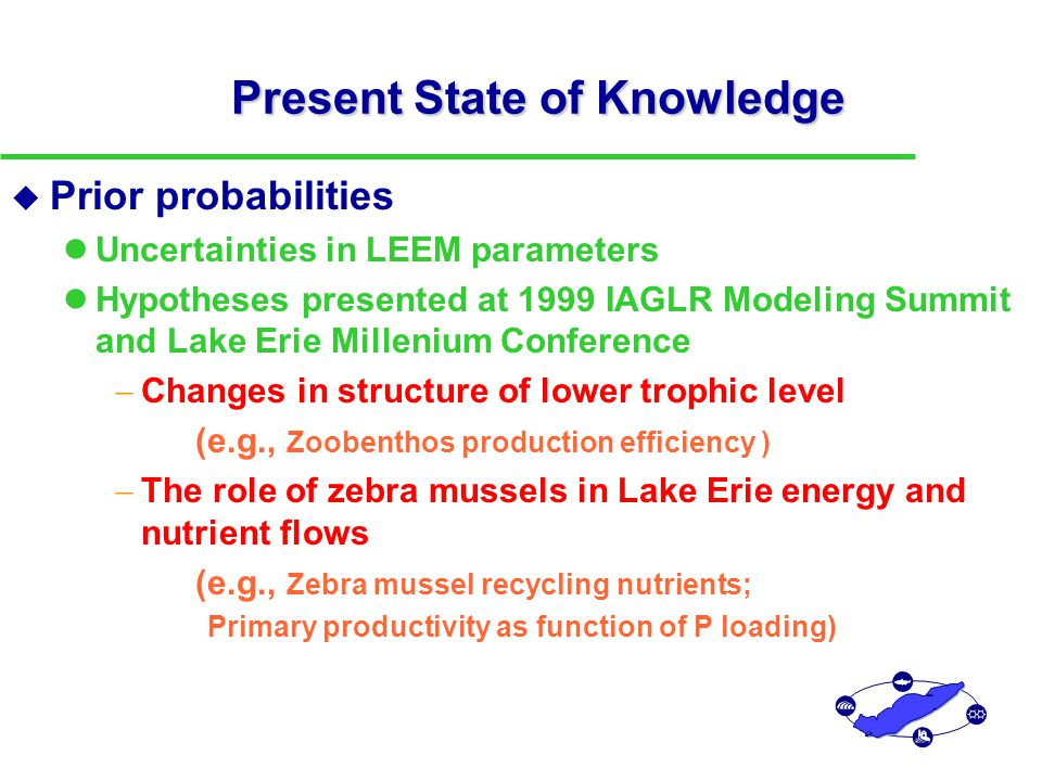 Present State of Knowledge u Prior probabilities Uncertainties in LEEM parameters Hypotheses presented at 1999 IAGLR Modeling Summit and Lake Erie Millenium Conference  Changes in structure of lower trophic level (e.g., Zoobenthos production efficiency )  The role of zebra mussels in Lake Erie energy and nutrient flows (e.g., Zebra mussel recycling nutrients; Primary productivity as function of P loading) u Disregarding uncertainties may result in inappropriate, nonrobust decisions