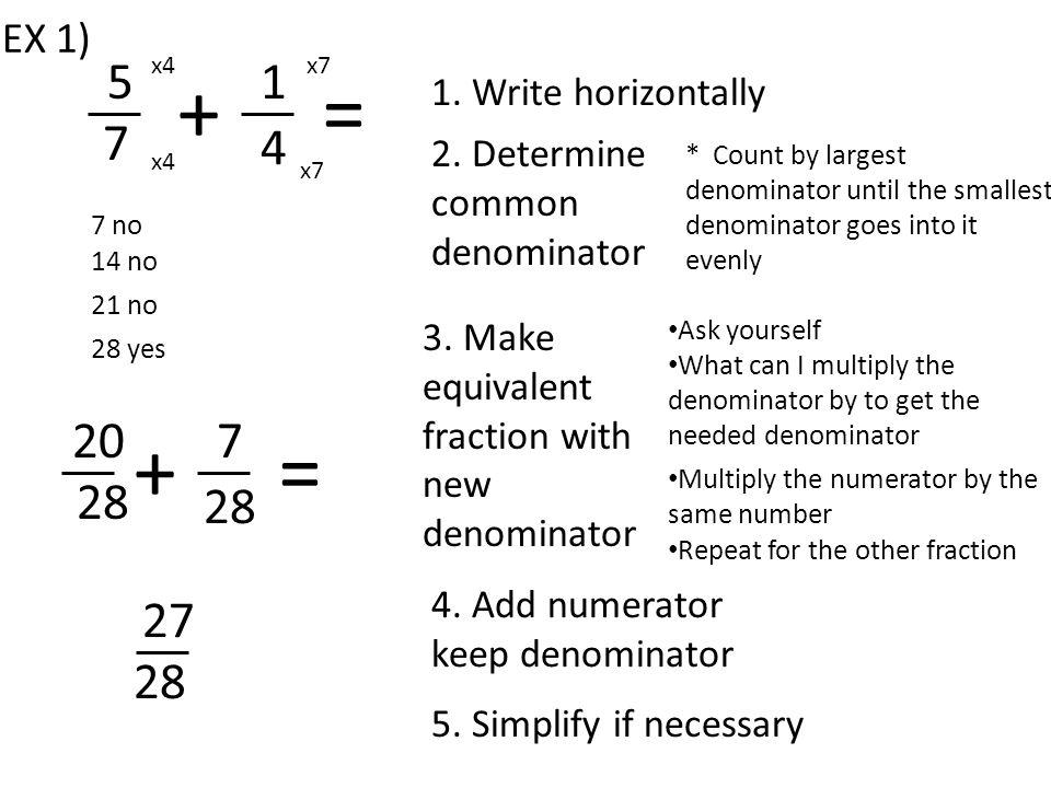 111 56 -= 4 x14 x1 1411 56 -= 3 x14 -3-11 12 += 4 x3 x1 x3 -9-11 12 += -20 12 -5 3 = 2 3 = EX 2) EX 3)