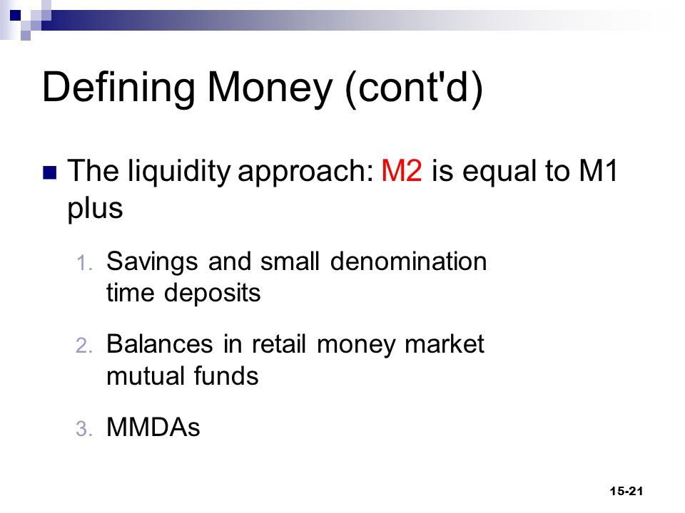 Defining Money (cont d) M2  Savings Deposits Interest-earning funds that can be withdrawn at any time without payment of a penalty  Depository Institutions Accept deposits from savers and lend those funds out 15-22