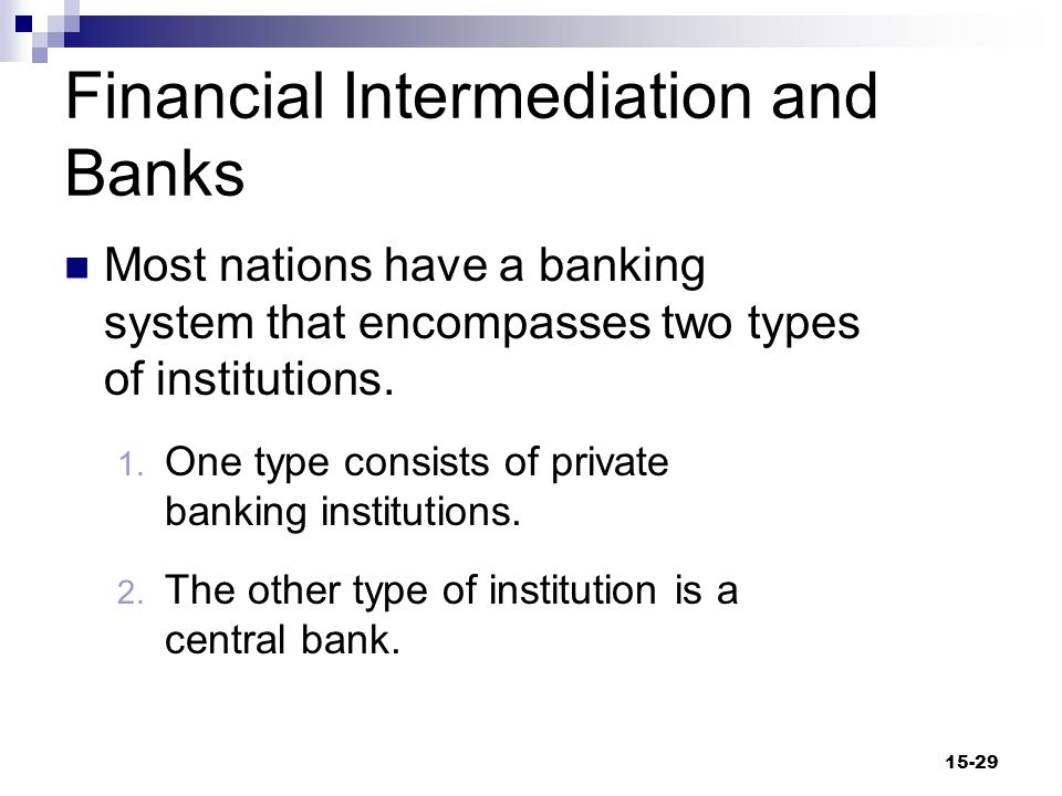 Financial Intermediation and Banks (cont d) Central Bank  A banker's bank, usually an official institution that also serves as a country's treasury's bank  Central banks normally regulate commercial banks.