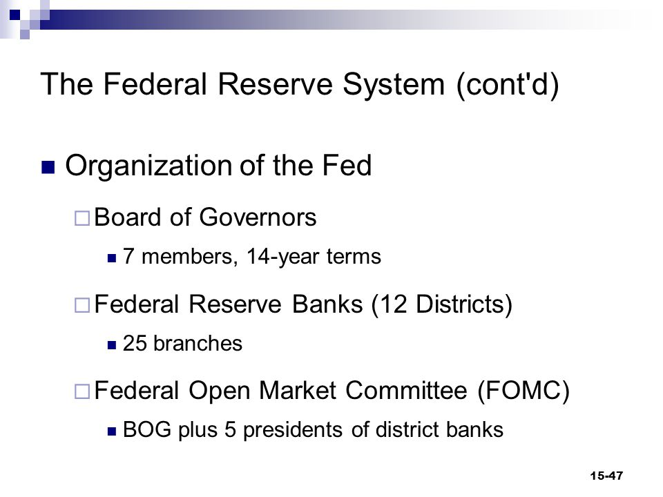 Figure 15-6 Organization of the Federal Reserve System 15-48