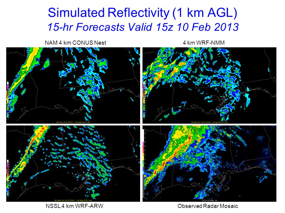 Simulated Reflectivity (1 km AGL) 16-hr Forecasts Valid 16z 10 Feb 2013 NAM 4 km CONUS Nest 4 km WRF-NMM NSSL 4 km WRF-ARW Observed Radar Mosaic Models are slow with convective line from western MS into southeast TX