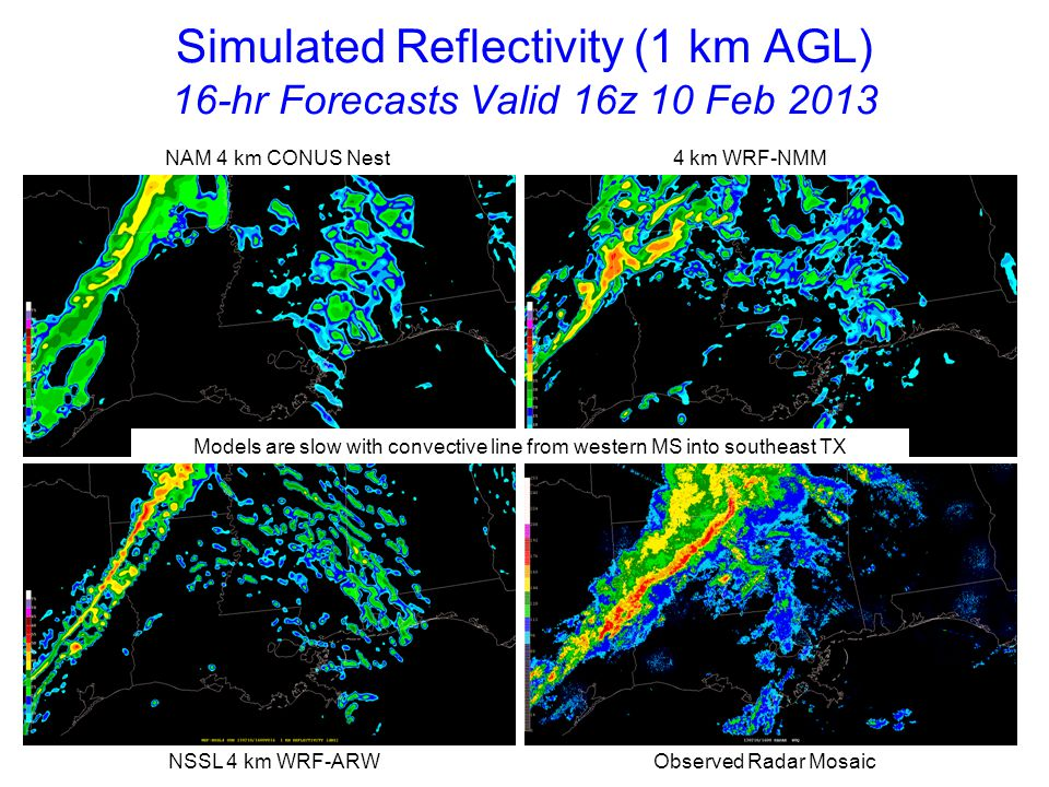 Simulated Reflectivity (1 km AGL) 17-hr Forecasts Valid 17z 10 Feb 2013 NAM 4 km CONUS Nest 4 km WRF-NMM NSSL 4 km WRF-ARW Observed Radar Mosaic