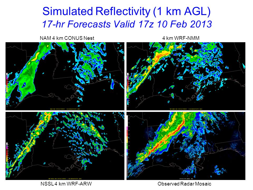 Simulated Reflectivity (1 km AGL) 18-hr Forecasts Valid 18z 10 Feb 2013 NAM 4 km CONUS Nest 4 km WRF-NMM NSSL 4 km WRF-ARW Observed Radar Mosaic Radar indicates new cells forming ahead of line over southeast LA and MS