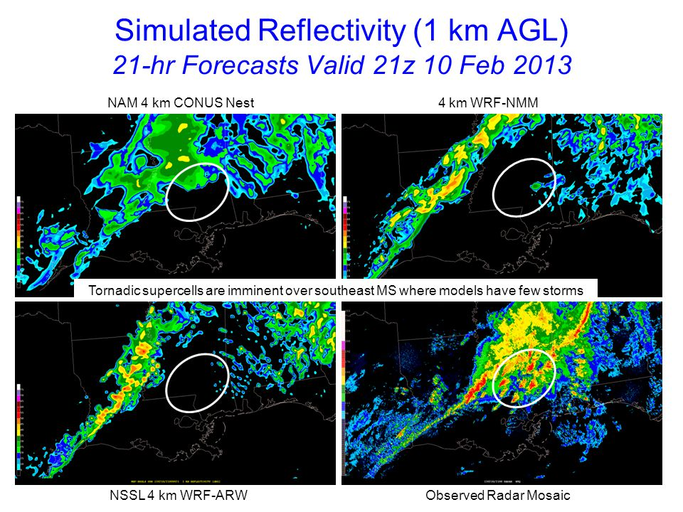 Simulated Reflectivity (1 km AGL) 22-hr Forecasts Valid 22z 10 Feb 2013 NAM 4 km CONUS Nest 4 km WRF-NMM NSSL 4 km WRF-ARW Observed Radar Mosaic