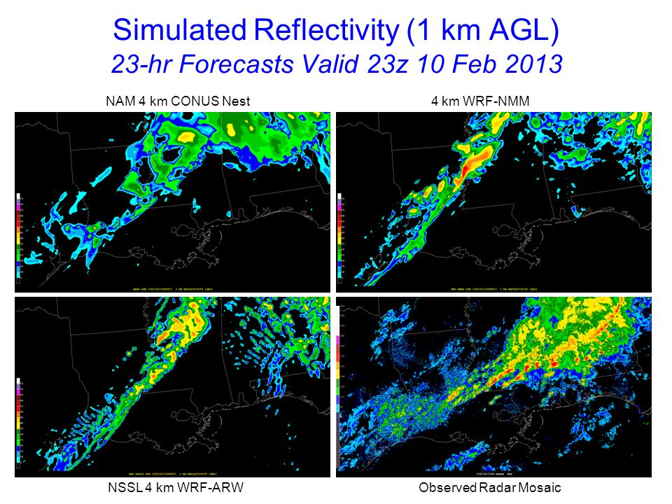 Simulated Reflectivity (1 km AGL) 24-hr Forecasts Valid 00z 11 Feb 2013 NAM 4 km CONUS Nest 4 km WRF-NMM NSSL 4 km WRF-ARW Observed Radar Mosaic Tornadic supercells are continuing over southeast MS/southwest AL where models have few storms