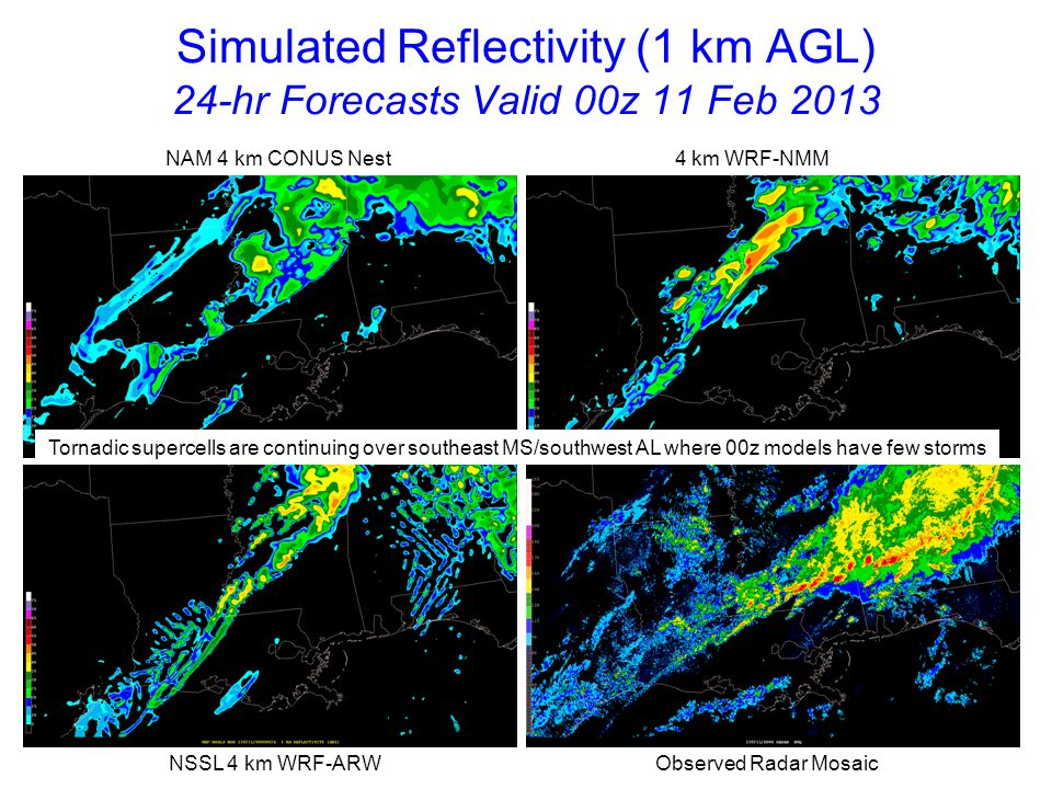 Simulated Reflectivity (1 km AGL) 12-hr Forecasts Valid 00z 11 Feb 2013 NAM 4 km CONUS Nest 4 km WRF-NMM NSSL 4 km WRF-ARW Observed Radar Mosaic 12z models show general improvement over earlier 00z runs with more intense QLCS