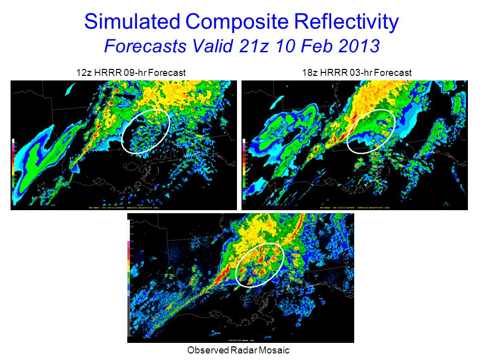 Simulated Composite Reflectivity Forecasts Valid 22z 10 Feb 2013 12z HRRR 10-hr Forecast 18z HRRR 04-hr Forecast Observed Radar Mosaic