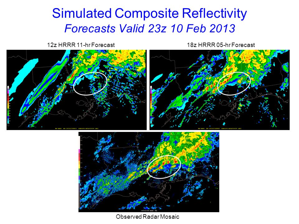 Simulated Composite Reflectivity Forecasts Valid 00z 11 Feb 2013 12z HRRR 12-hr Forecast 18z HRRR 06-hr Forecast Observed Radar Mosaic 18z HRRR has smaller phase error than 12z run although convective evolution did not match observations