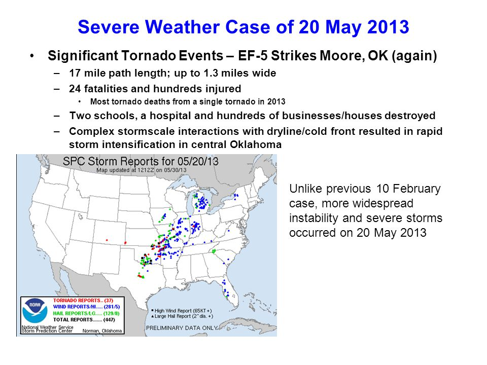 Severe Weather Case of 20 May 2013 Significant Tornado Events – EF-5 Strikes Moore, OK (again) –17 mile path length; up to 1.3 miles wide –24 fatalities and hundreds injured Most tornado deaths from a single tornado in 2013 –Two schools, a hospital and hundreds of businesses/houses destroyed –Complex stormscale interactions with dryline/cold front resulted in rapid storm intensification in central Oklahoma