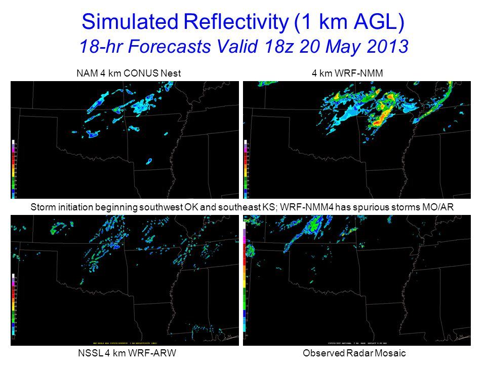 Simulated Reflectivity (1 km AGL) 19-hr Forecasts Valid 19z 20 May 2013 NAM 4 km CONUS Nest 4 km WRF-NMM NSSL 4 km WRF-ARW Observed Radar Mosaic Models generally slow with initial severe storms southwest OK, southeast KS and southwest MO