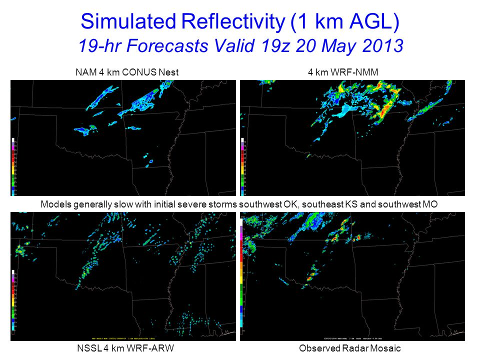 Simulated Reflectivity (1 km AGL) 20-hr Forecasts Valid 20z 20 May 2013 NAM 4 km CONUS Nest 4 km WRF-NMM NSSL 4 km WRF-ARW Observed Radar Mosaic NAM4 weaker than NSSL-WRF and WRF-NMM with OK severe storms; EF-5 tornado now in Moore, OK