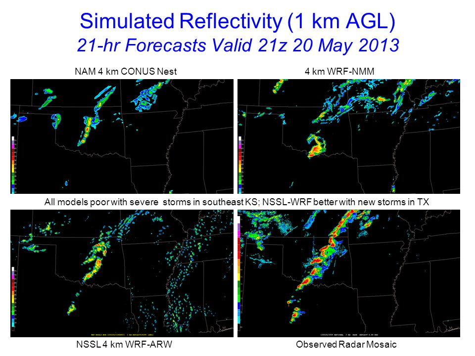 Simulated Reflectivity (1 km AGL) 22-hr Forecasts Valid 22z 20 May 2013 NAM 4 km CONUS Nest 4 km WRF-NMM NSSL 4 km WRF-ARW Observed Radar Mosaic WRF-NMM and NSSL-WRF indicate bowing storms into eastern OK; linear transition too fast