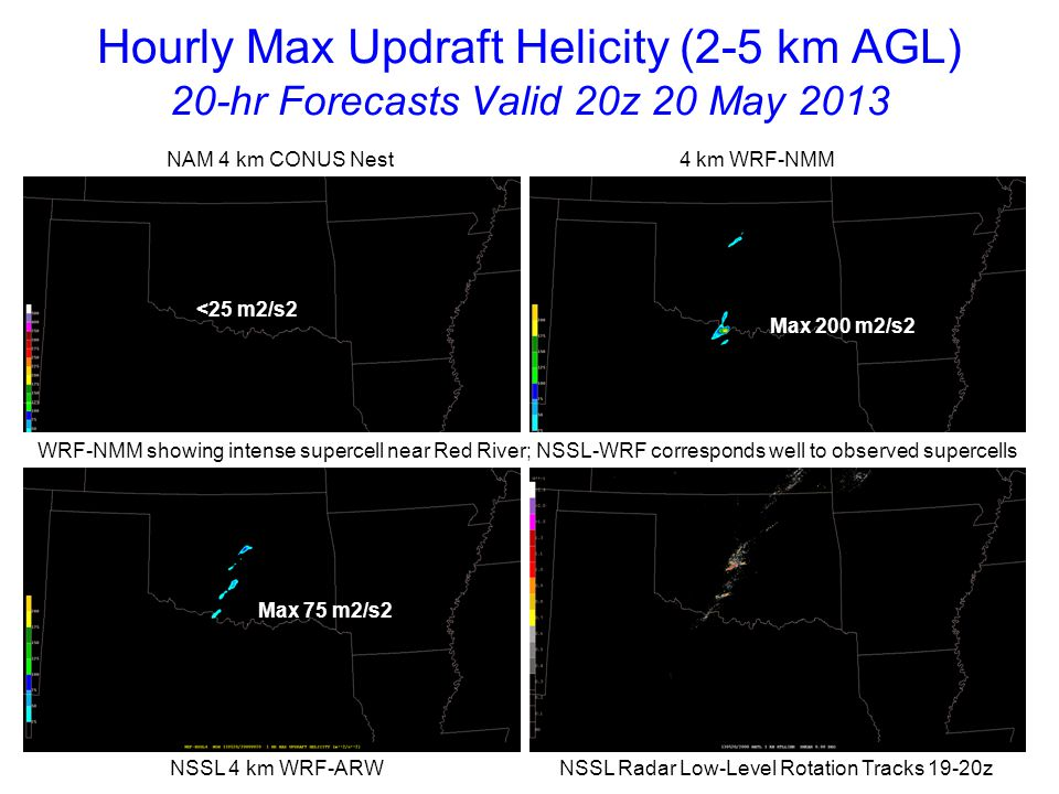 Hourly Max Updraft Helicity (2-5 km AGL) 21-hr Forecasts Valid 21z 20 May 2013 NAM 4 km CONUS Nest 4 km WRF-NMM NSSL 4 km WRF-ARW NSSL Radar Low-Level Rotation Tracks 20-21z Max 75 m2/s2 Max 200 m2/s2 Max 125 m2/s2 By 21z models indicating strongly rotating updrafts although locations vary
