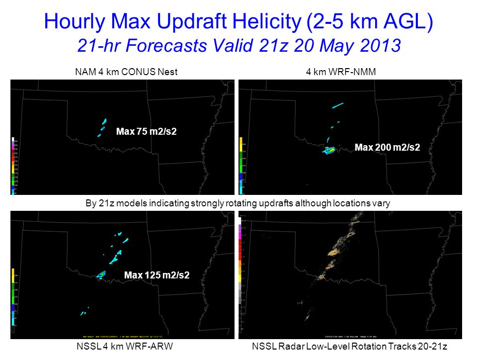 Hourly Max Updraft Helicity (2-5 km AGL) 22-hr Forecasts Valid 22z 20 May 2013 NAM 4 km CONUS Nest 4 km WRF-NMM NSSL 4 km WRF-ARW NSSL Radar Low-Level Rotation Tracks 21-22z Max 125 m2/s2 Max 175 m2/s2 Max 125 m2/s2 All models develop storms with strong rotating updrafts; NSSL-WRF UH tracks better match observations