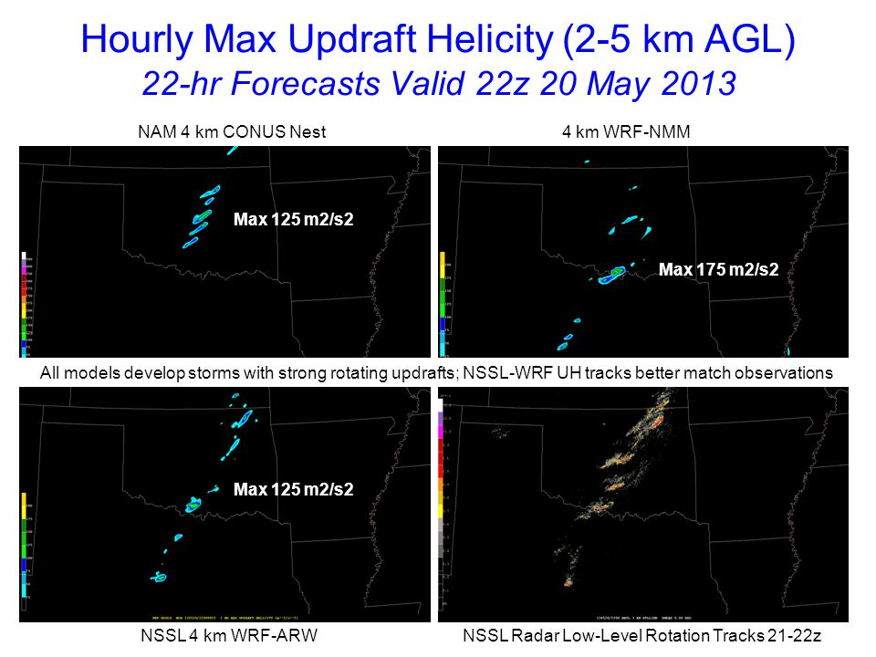 Hourly Max Updraft Helicity (2-5 km AGL) 23-hr Forecasts Valid 23z 20 May 2013 NAM 4 km CONUS Nest 4 km WRF-NMM NSSL 4 km WRF-ARW NSSL Radar Low-Level Rotation Tracks 22-23z Max 125 m2/s2 Max 175 m2/s2 Max 200 m2/s2