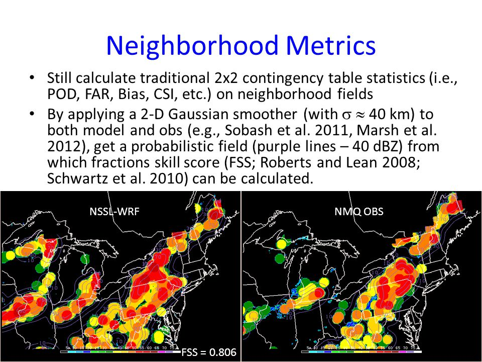SPC Internal Webpage (Shared with MMB) Utilizes database of gridded reflectivity forecasts and observations Flexible menu options at top: date, region, cycle, variable, threshold, model, & metric Multi- panel model display with obs Hourly objective metrics below images Link to summary statistics page