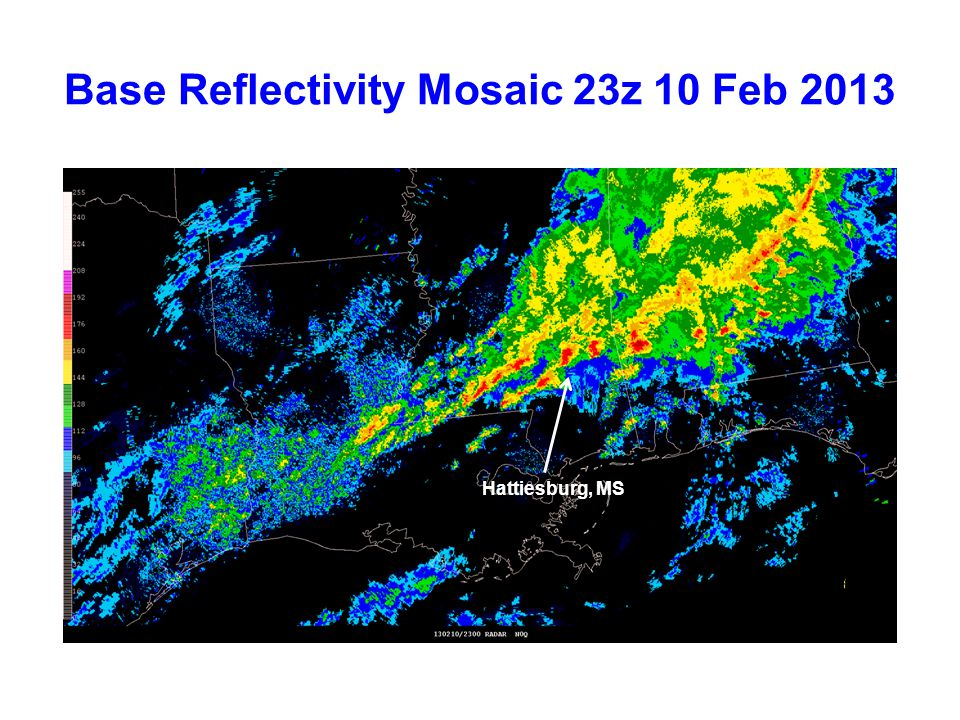 Simulated Reflectivity (1 km AGL) 12-hr Forecasts Valid 12z 10 Feb 2013 NAM 4 km CONUS Nest 4 km WRF-NMM NSSL 4 km WRF-ARW Observed Radar Mosaic