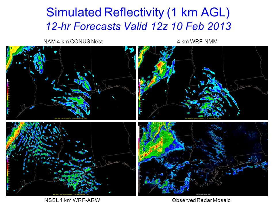 Simulated Reflectivity (1 km AGL) 13-hr Forecasts Valid 13z 10 Feb 2013 NAM 4 km CONUS Nest 4 km WRF-NMM NSSL 4 km WRF-ARW Observed Radar Mosaic