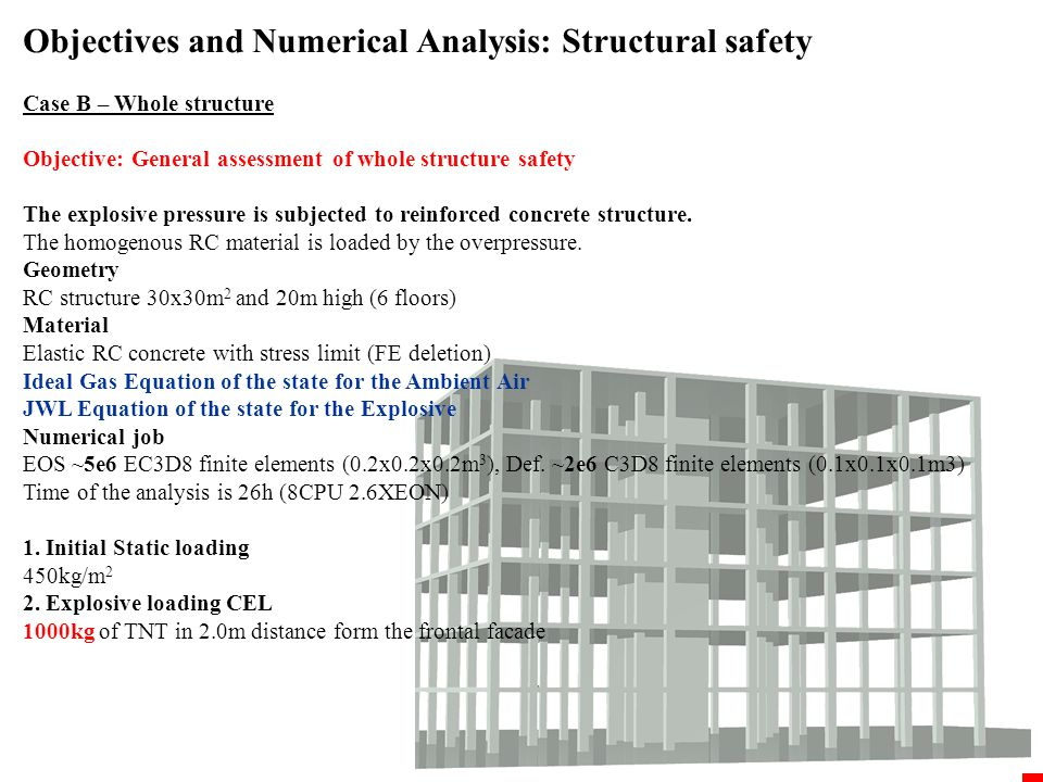 Objectives and Numerical Analysis: Structural safety Case B – Whole structure
