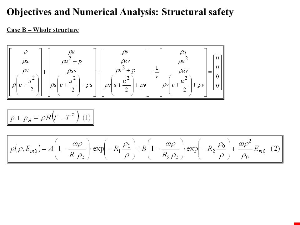Objectives and Numerical Analysis: Structural safety Case B – Whole structure The results FE failure criteria Compression -80.0MPa Tension +1.0MPa t=0.001s after detonation t= 0.01s after detonation