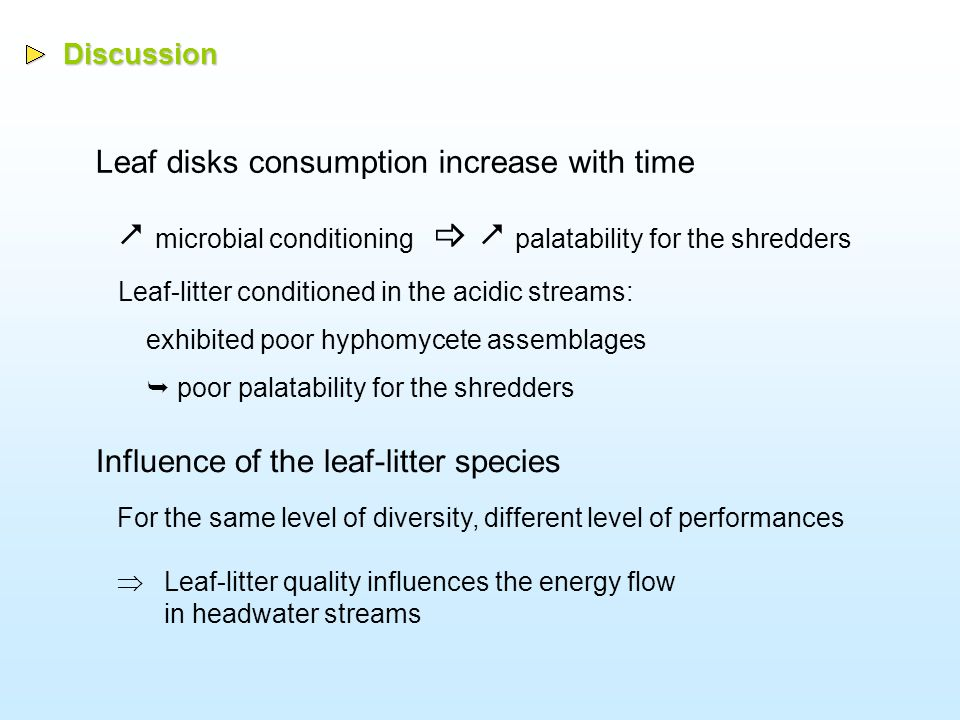 Conclusions The diversity of hyphomycete assemblages has an effect on: 1)Fine Particulate Organic Matter (FPOM) production from leaf-litter 2)The palatability of leaf detritus for shredders Manipulation of biodiversity by Acidification and Time  Organic matter decomposition in acidified stream is a good model to study the diversity-function relationships
