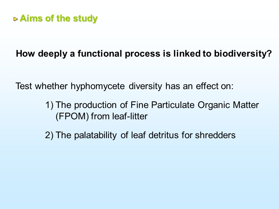 Perturbation which could induce diversity changes: Functional process: Biodiversity: Leaf-Litter decomposition (3 leaves species) Aquatic hyphomycete associated with decaying leaves Anthropogenic acidification Terms of the study Terms of the study