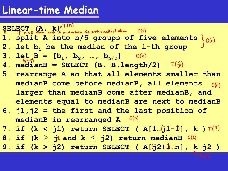 Linear-time Median Running the algorithm: