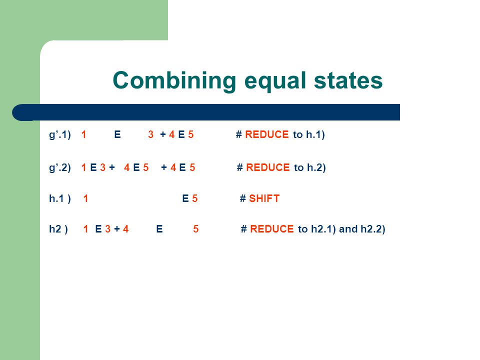 Combining equal states g'.1) 1 E 3 + 4 E 5 # REDUCE to h.1) g'.2) 1 E 3 + 4 E 5 + 4 E 5 # REDUCE to h.2) h.1 ) 1 E 5 # SHIFT h2 ) 1 E 3 + 4 E 5 # REDUCE to h2.1) and h2.2) h2.1) 1 E 5 # SHIFT