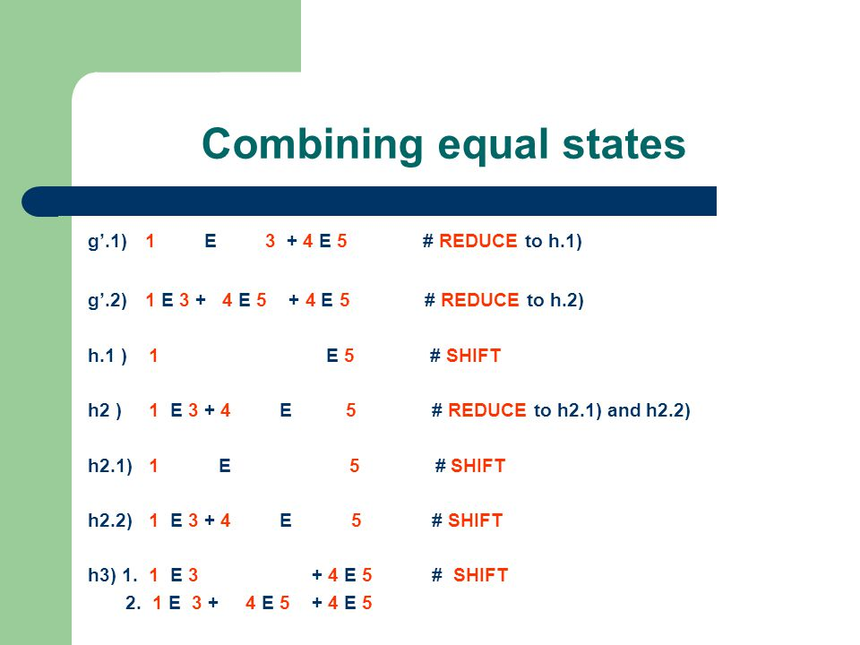 Combining equal states Now we have five stacks (h1, h2.1, h2.2, h3).