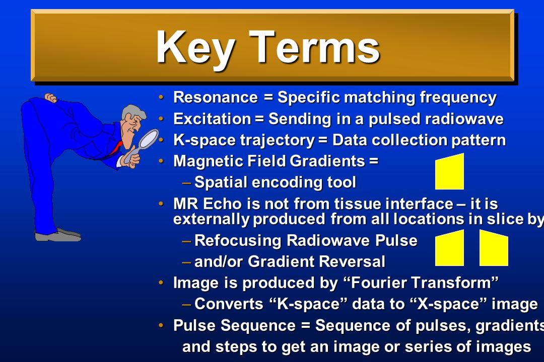 Key Terms T1 = Time to develop magnetizationT1 = Time to develop magnetization Gradient = Magnetic Field Slope low-high in X, Y, or ZGradient = Magnetic Field Slope low-high in X, Y, or Z Gradient-echo = echo caused by reversing X gradientGradient-echo = echo caused by reversing X gradient Spin-echo = echo caused by addition of a radiowave refocusing pulseSpin-echo = echo caused by addition of a radiowave refocusing pulse T2 = Time constant for loss in transverse magnetization with spin-echoT2 = Time constant for loss in transverse magnetization with spin-echo T2*= Time constant for loss in transverse magnetization with gradient-echo; susceptibilityT2*= Time constant for loss in transverse magnetization with gradient-echo; susceptibility TR = Repetition time = T1 contrast weightTR = Repetition time = T1 contrast weight TE = Echo time = T2 or T2* contrast weightTE = Echo time = T2 or T2* contrast weight T1 Weighted = method emphasizing T1 differencesT1 Weighted = method emphasizing T1 differences T2 Weighted = method emphasizing T2 differencesT2 Weighted = method emphasizing T2 differences