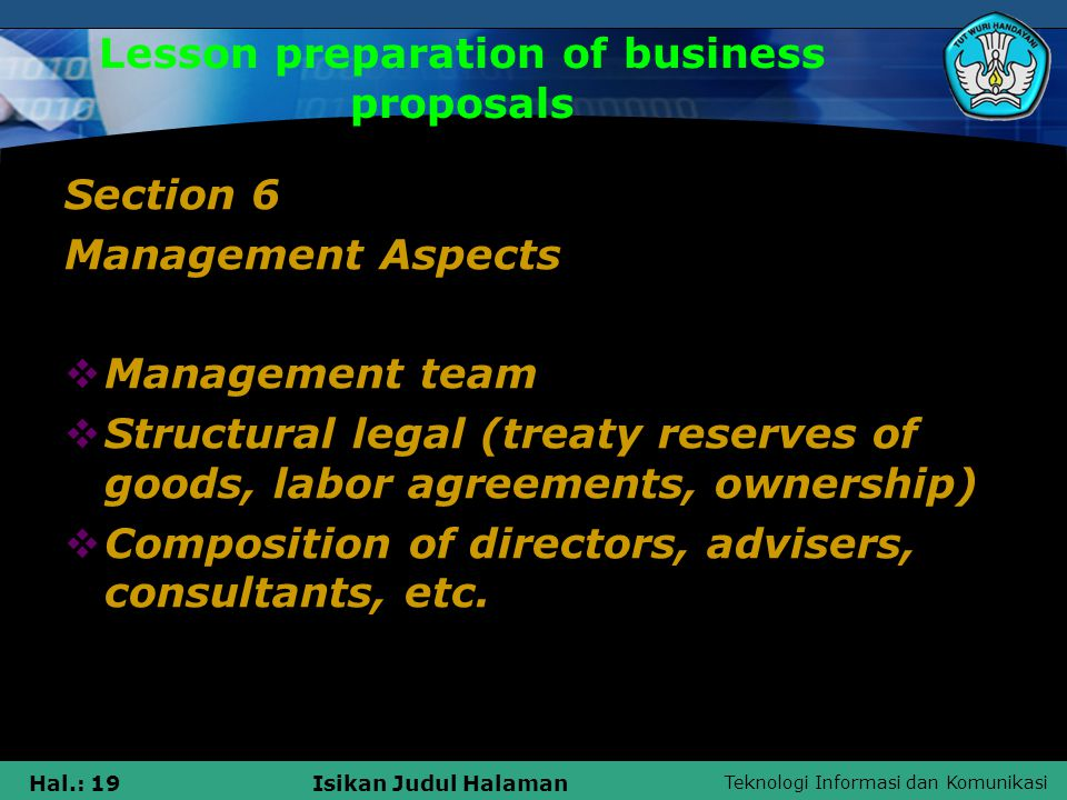 Teknologi Informasi dan Komunikasi Hal.: 20Isikan Judul Halaman Lesson preparation of business proposals Section 7 Management Aspects  The issues of potential  Risks and barriers  Alternative action