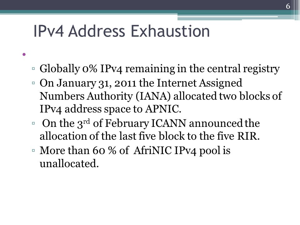 Rate of Daily assignment of IPv4 in the various RIRs 7 Based on the beside average rate of daily IPv4 allocation, AfriNIC IPv4 Pool will last for another 5 to 10 years before exhaustion.