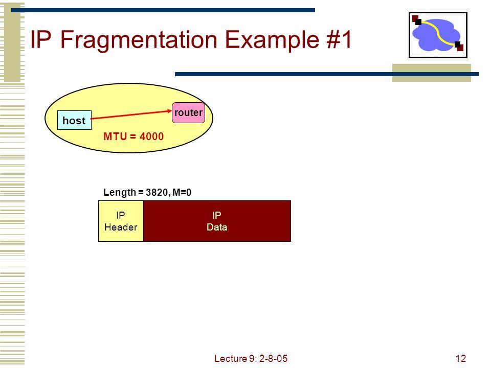 Lecture 9: 2-8-0513 IP Fragmentation Example #2 router MTU = 2000 IP Header IP Data Length = 3820, M=0 3800 bytes IP Header IP Data Length = 2000, M=1, Offset = 0 1980 bytes IP Data IP Header Length = 1840, M=0, Offset = 1980 1820 bytes