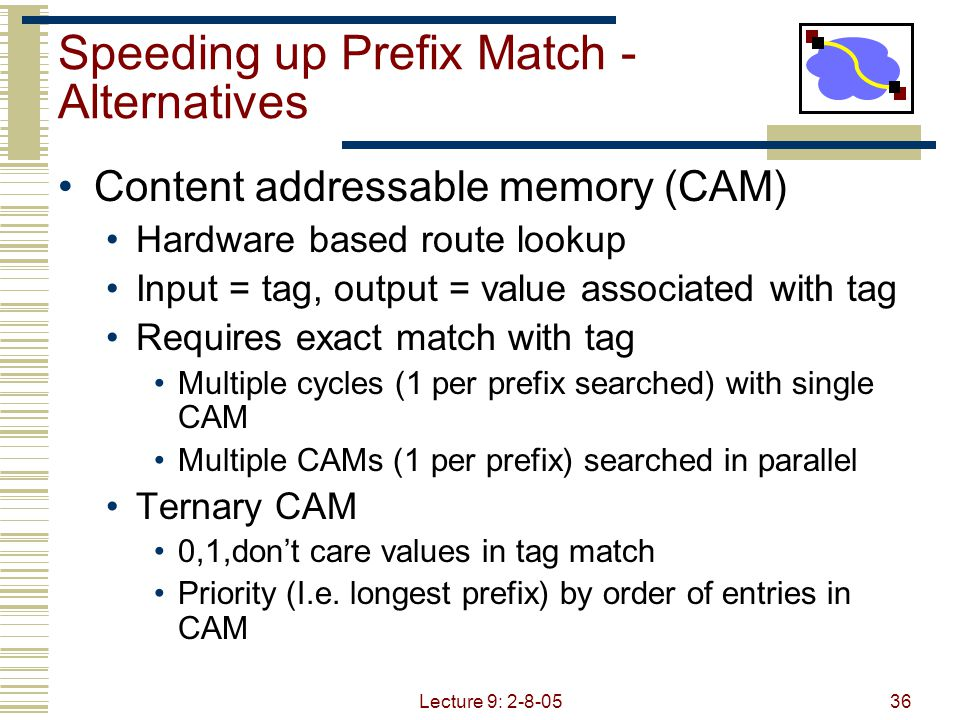 Lecture 9: 2-8-0537 Speeding up Prefix Match - Alternatives Route caches Packet trains  group of packets belonging to same flow Temporal locality Many packets to same destination Other algorithms Routing with a Clue [Bremler-Barr – Sigcomm 99] Clue = prefix length matched at previous hop Why is this useful?