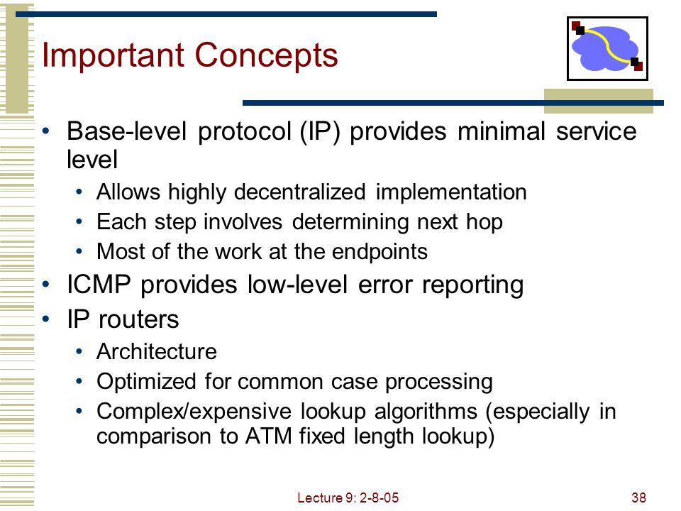 Lecture 9: 2-8-0539 Important Concepts IP forwarding  global addressing, alternatives, lookup tables IP addressing  hierarchical, CIDR, IP service  best effort, simplicity of routers IP packets  header fields, fragmentation, ICMP