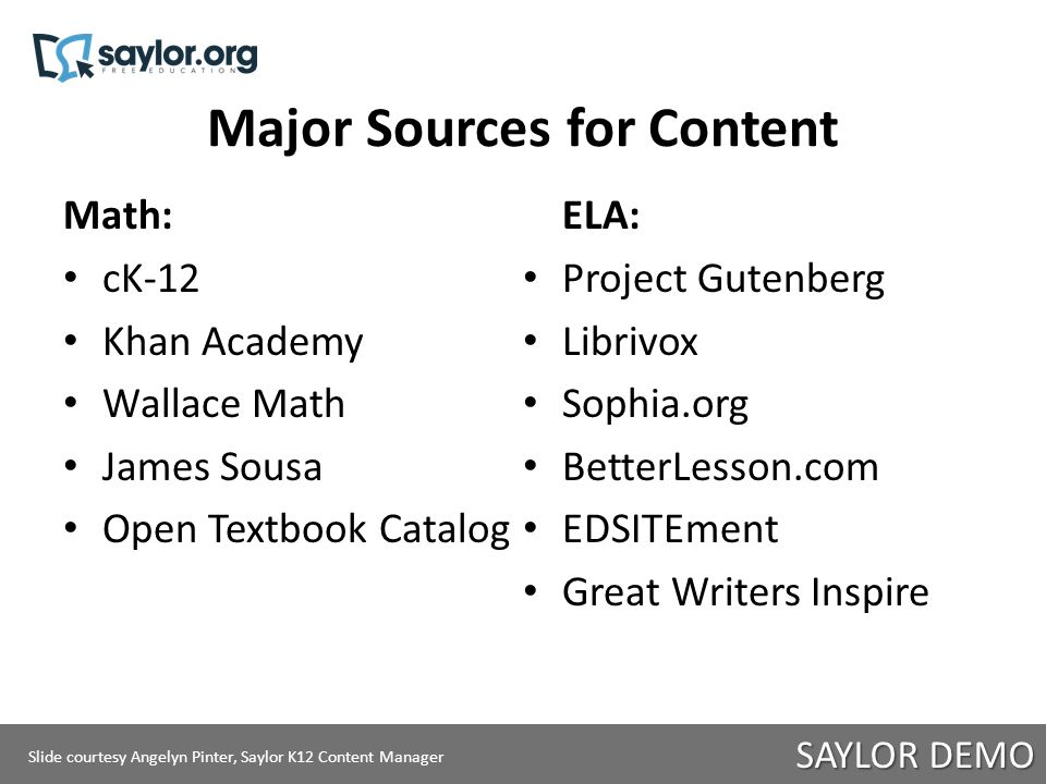 Teacher Support How-to find open YouTube videos Webinar how-to find open content Resource guides for ELA and math with categories (videos, readings, practice problems, etc.) Saylor 101 and Common Core 101 Targeted resource assists Slide courtesy Angelyn Pinter, Saylor K12 Content Manager SAYLOR DEMO Slide courtesy Angelyn Pinter, Saylor K12 Content Manager