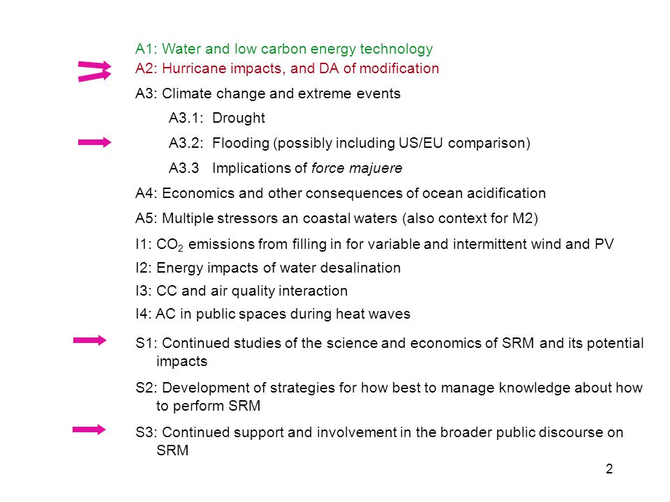 A1: Water and low carbon energy technology A2: Hurricane impacts, and DA of modification.