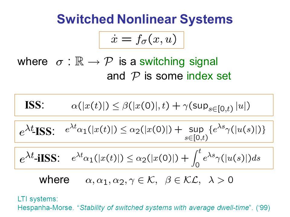 Slow switching Average dwell-time switching Hespanha-Morse.