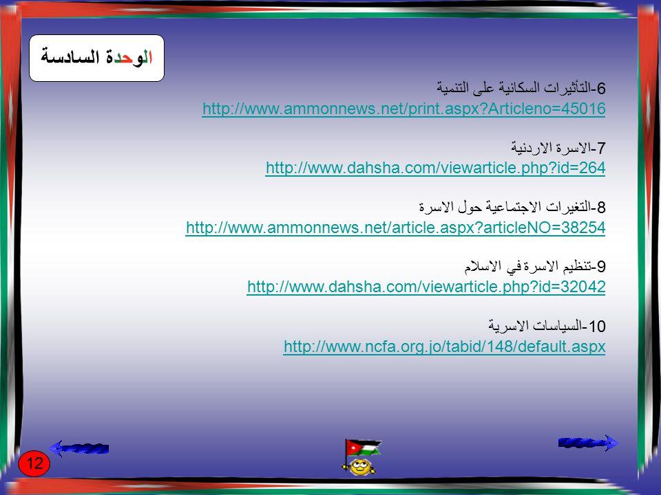 الوحدة السابعة 1-الثقافة http://ar.wikipedia.org/wiki/%D8%AB%D9%82%D8%A7%D9%81%D8%A 9 2-المدنية http://www.islamonline.net/servlet/Satellite?c=ArticleA_C&pagename=Zo ne-Arabic-ArtCulture%2FACALayout&cid=1184649257637 3-تطور المشهد الثقافي الاردني http://www.addustour.com/PrintTopic.aspx?ac=%5CLocalAndGover%5C2 010%5C01%5CLocalAndGover_issue842_day30_id208671.htm 4-تطور المشهد الاعلامي http://www.dpp.gov.jo/2009/6.html 5-رسالة عمان http://www.ammanmessage.com/index.php?lang=ar 13
